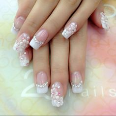 Wedding Floral Nails With Crystal Embellishments