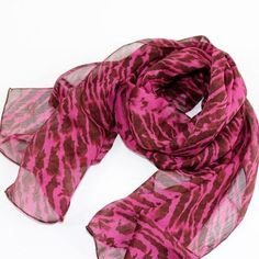 fuchsia chiffon scarf - animal print