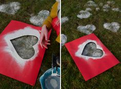 For Valentine's day, make heart patterns on the grass using flour. I wonder what other fun shapes would be appropriate for other holidays? (Like a birthday?) I also wonder if the flour could be damaging to the lawn in any way. Hmm.