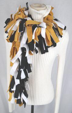 Fleece Fringed Scarf Muffler Black White Gold UCF by twochixremix, $18.99