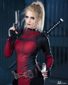 Cosplay Anime How about that Deadpool and Celine Dion music video/trailer? Deadpool Cosplay, Lady Deadpool, Superhero Cosplay, Female Superhero, Female Deadpool, Celine Dion, Amazing Cosplay, Best Cosplay, Cosplay Outfits