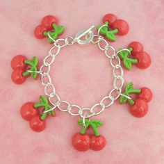 Cherry Tiki Charm Bracelet - Vintage Inspired - Pin Up - Rockabilly - Tropical Hawaiian - Kitsch - Retro - 50's by PlayBox on Etsy