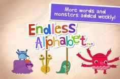 Endless Alphabet playful phonics app for children- monsters introducing a word for each letter of the alphabet. Children drag letters into place, hear their sounds. iPad/iPhone--check it out! Phonics aren't perfect but very fun nonetheless :) Best Free Ipad Apps, Free Apps, Teaching Letters, Teaching Kids, Toddler Apps, Toddler Learning, Toddler Stuff, Educational Apps For Kids, School