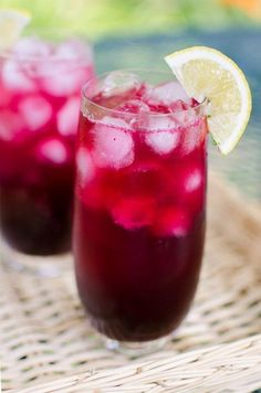 Blueberry vodka lemonade: vodka + lemon juice + blueberry syrup + lemonade drink mix