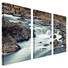 3-Piece gallery-wrapped canvas triptych depicting a mountain stream.   Product: 3-Piece wall artConstruction Material...