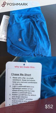 Lululemon chase me shorts NWT. Gorgeous blue. Reflective details lululemon athletica Shorts