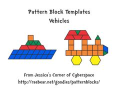 Printable designs for Pattern blocks. Vehicles, Animals, Alphabet Designs, Holiday Designs, and More!