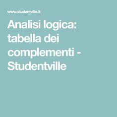 Analisi logica: tabella dei complementi - Studentville