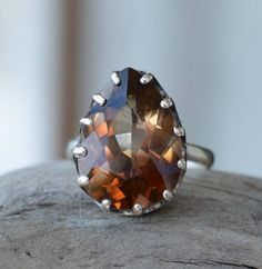 Ring With Luxury Polychrome Imperial Topaz. Ring With Natural Topaz brandy colour. Topaz Drop Pear Cut. Present for her. Gift Idea