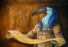 Toth : fils de Râ, dieu lunaire (il remplace le dieu soleil, la nuit), patron des scribes et grand magicien. Il est représenté avec une tête d'Ibis portant une couronne atef.
