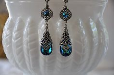 Swarovski Crystal BERMUDA BLUE filigree earrings by cynthiacouture, $65.00
