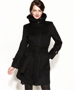 Calvin Klein Coat, Belted Hooded Buckled Wool-Blend - Coats - Women - Macy's $179.99
