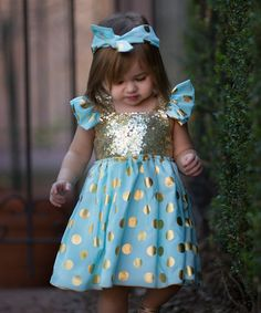 Look what I found on #zulily! Mint & Gold Sequin Angel-Sleeve Dress - Infant, Toddler & Girls #zulilyfinds