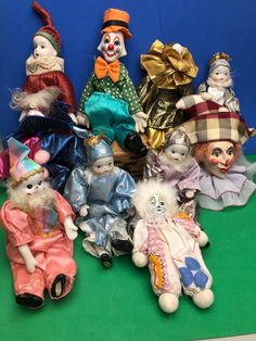"""Lot Of 10 Clowns Jesters - Fabric Body Porcelain Heads One Head Porcelain Clown 5"""" to 8"""" tall - Different Colors by Anaforia on Etsy Pierrot Clown, Vintage Wear, Clowns, Recycled Materials, Different Colors, Appreciation, Porcelain, Shapes, Christmas Ornaments"""