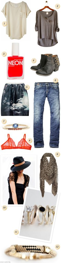 #1. Rag & Bone Marisfeld Tee - La Garconne 2.Perfect Shirt - Conversation Pieces 3.Neon Nail Polish - American Apparel 4.H by Hudson Encke Ankle Boots - Urban Vintage 5.Volcano Skirt - Net-A-Porter 6. 5-Pocket Striaght Leg Jeans - Scotch & Soda  7.Stacked Sapphire Ring - Mociun, seen on Unruly Things 8.Deborah Marquit Antoinette French Lace Bra - Net-A-Porter 9.Lecco Scarf - All Saints 10.Hat from Yestadt Millinery 11.Rings from Bario-Neal Jewelry 12.Katy Bracelet by Orly Genger by Jaclyn…