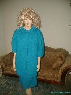 Rare Vintage 40s 50s Teal Green Knit Boxy Jacket Pencil Skirt Suit Socialite