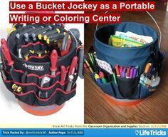 Classroom Organization and Supplies - Use a Bucket Jockey as a Portable Writing or Coloring Center
