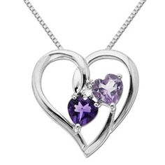 Celebrate your unending love story with this attention-getting look. Fashioned in fine sterling silver, this clever open heart-shaped pendant is set with two radiant heart-shaped amethysts - one in brilliant lavender, the other a precious pink. Separating the hearts, and finishing the look, a single shimmering diamond sparkles brightly. Polished to a brilliant shine, this heart suspends close to hers from an 18 inch box chain and secures with a spring-ring clasp. $69