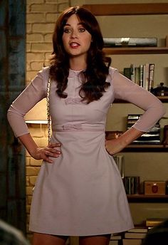 Jess's purple bow front dress with sheer sleeves on New Girl.  Outfit Details: http://wornontv.net/38185/ #NewGirl