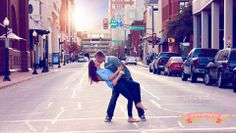 Engagement Photo posing in the streets of Ft. Worth
