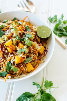 easy weeknight dinner! // soba noodle salad with coconut & mango // vegan + gluten-free