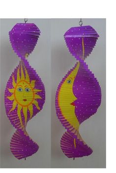 "Sun Moon Garden Decor Wood Spinner Purple Yellow Helix 6X16"" Large Whirligig NEW"
