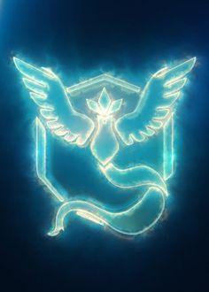 Mystic Team Emblem (modeling, post-production, edition & render in After… Pop Art Posters, Poster Prints, 3d Pokemon, Mystic Team, Neon Signs, Animation, Modeling, Metal, Hologram