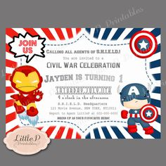 Captain America Printable Party Invitations And Agents of ...