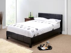 "Snuggle Beds Nadia Black (Black Stitching).  4' 6"" Double Faux Leather Bed"
