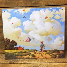 Nostalgic Little Boy with Fishing Gear & Patriotic Kite Decorative Tin Sign
