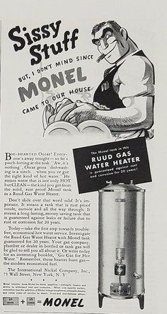 1939 Monel Tank Rudd Gas Water Heater Vintage Ad - Sissy Stuff Oscar Dishwashing