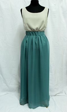 NEW Maxi Jade Green Malachite Green Chiffon Skirt by TADSON, $92.00