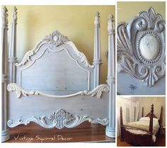 My new (old) headboard I found at the thrift furniture store today would look awesome painted like this! A beautiful bed finished in Paris Grey, Old White and French Linen Chalk Paint® decorative paint by Annie Sloan Furniture, Redo Furniture, Painted Furniture, Painted Beds, Chalk Paint Furniture, Chalk, Paint Furniture, Furniture Inspiration, Beautiful Bedding