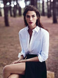 Beautiful classic pieces .. white & blue shirts, black blazers, white skirts & tailored black pants .. styled by Christine Centen...