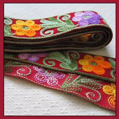 Wool Embroidered Trim with Floral Elements on Red Background | PattyAnn - Craft Supplies on ArtFire