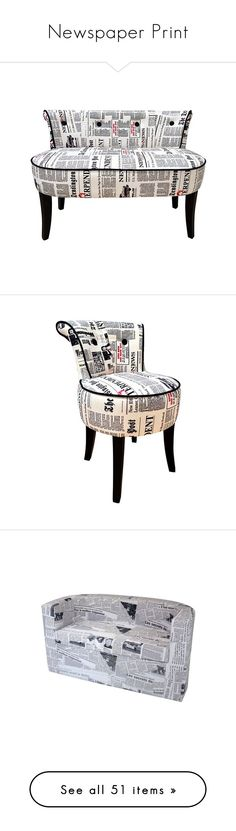 """""""Newspaper Print"""" by valsal ❤ liked on Polyvore featuring home, furniture, chairs, accent chairs, seating, patterned chair, patterned accent chairs, low chair, upholstery chairs and contemporary furniture"""