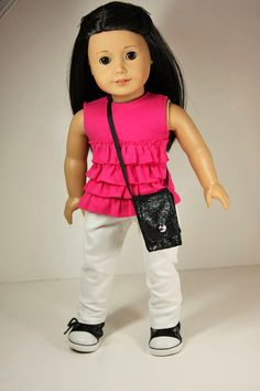 American Girl Doll Clothes Ruffled Top Skinny Jeans by sewurbandesigns, $24.00