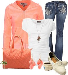 """""""Coral and Jeans"""" by cindycook10 ❤ liked on Polyvore"""