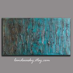 Teal Home Decor Large Abstract Textured Painting on by landseasky