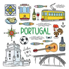Portugal elements and symbols. Hand drawn icons of Portugal, Lisbon and Porto. Travel icons Portugal elements and symbols. Hand drawn icons of Portugal, Lisbon and Porto. Symbol Hand, Tattoo Symbole, Element Symbols, Travel Icon, Travel Illustration, Portugal Travel, Travel Scrapbook, Travel Posters, How To Draw Hands