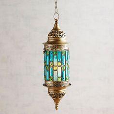 Gem Caravan Blue & Green Hanging Lantern | Pier 1 Imports