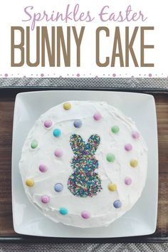 A fun and easy Easter Bunny Cake idea that not only will your kids love, but adults will too! It's a great Easter Dessert that involves simple decorating skills - using only a cookie cutter. #easter #easterbunny #easterbunnycake #easterdessert #eastercake