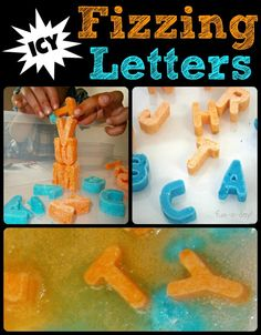 Icy Fizzing Letters!  Awesome science and literacy play for the kids on a warm summer day (or any day, really)!  So much to explore and discover.  :)