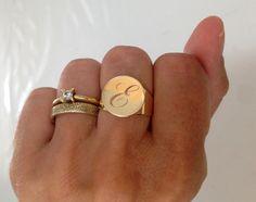 Personalized Ring, Signet Ring, women ring, Initial ring, Gift for women, Monogram Initial Ring, letter Ring , 18 karat Ring, 18k Gold plate
