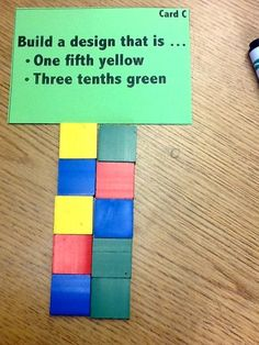 """Fractions mosaics provide a hands-on, differentiated context to explore equivalence, common denominators, and different """"wholes."""" Here& the entire lesson with directions, differentiated. Teaching Fractions, Math Fractions, Teaching Math, Equivalent Fractions, Fractions Decimals And Percentages, 3rd Grade Fractions, Dividing Fractions, Percents, Math Teacher"""