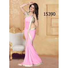 Designer Georgette Pearls Pattern Party Wear Pink Saree - 15390 ( ML - 896 )