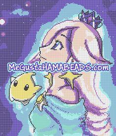 Patrón de la Princesa Estela para Hama Beads (Saga Super Mario Bros). Son 30 placas Hama Midi de 15x15cm.