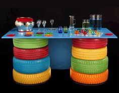 old tyres painted & used as a table base