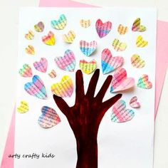 Arty Crafty Kids - Art - Valentines - Handprint Valentine Heart Tree