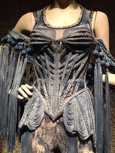 Elaborate bodice by Jean Paul Gaultier. Dark Fashion, High Fashion, Fashion Show, Gothic Fashion, Denim Corset, London Jeans, Do It Yourself Fashion, Steampunk Clothing, Gothic Steampunk